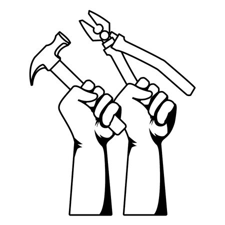 Construction workers hands holding hammer and plier tools vector illustration graphic design.
