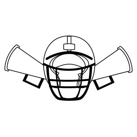 american football sport game helmet with megaphones cartoon vector illustration graphic design Çizim