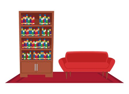 furniture house interior with couch and bookshelf over carpet icon cartoon vector illustration graphic design