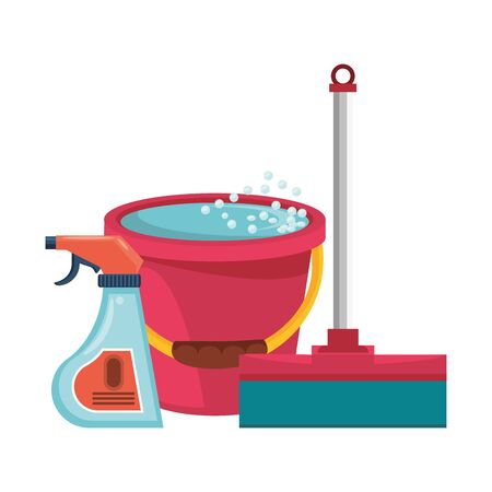 Cleaning equipment and products mop and disinfectant with water bucket vector illustration graphic design. Иллюстрация