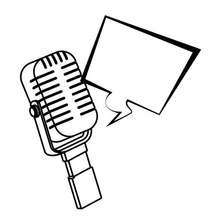 microphone icon cartoon isolated with speech bubble black and white vector illustration graphic design