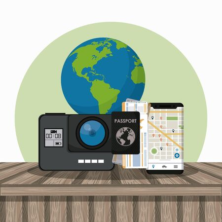 Travel and tourism camera smartphone and world elements on wooden floor cartoons vector illustration graphic design