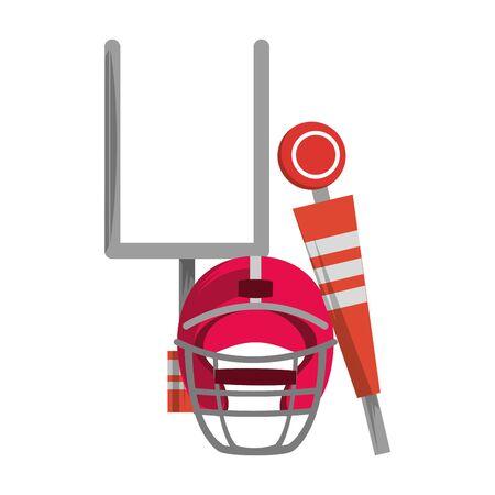 american football sport game goal post with helmet and sideline cartoon vector illustration graphic design Çizim