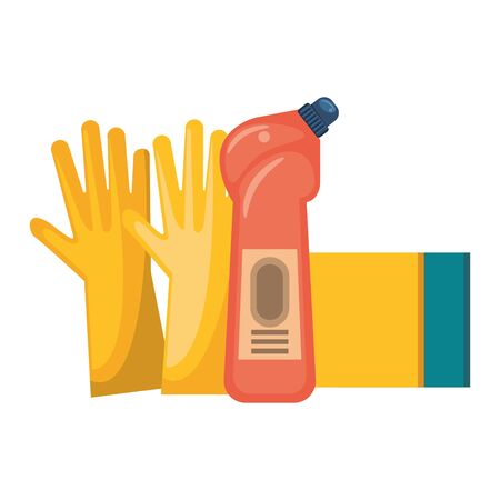 Cleaning equipment and products gloves and soap bottle with sponge vector illustration graphic design. Иллюстрация