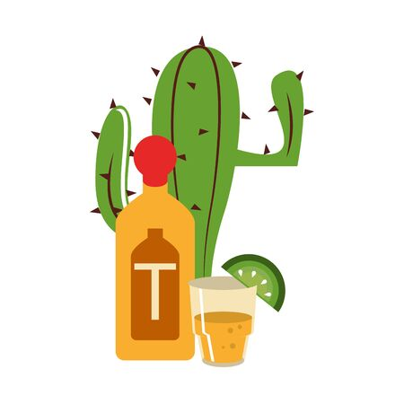 mexican culture and food cartoon tequila bottle and glass lemon on the edge vector illustration graphic design Ilustração