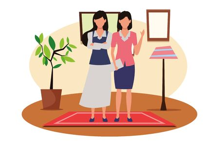 Two business partners working, executive entrepreneur teamwork inside house with furniture scenery vector illustration graphic design. Çizim