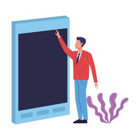 Executive businessman with big smartphone ,vector illustration graphic design. Illustration