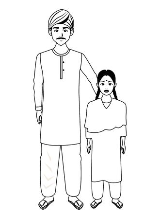 indian family man with moustache and turban young girl with sari in black and white profile picture avatar cartoon character portrait vector illustration graphic design