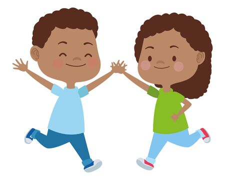 Happy kids boy and girl smiling and playing vector illustration graphic design. Иллюстрация