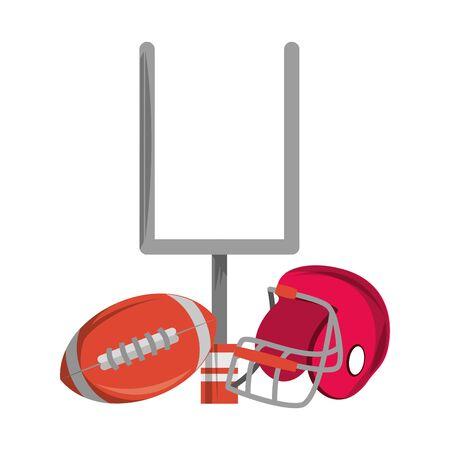 american football sport game goal post with ball and helmet cartoon vector illustration graphic design Иллюстрация