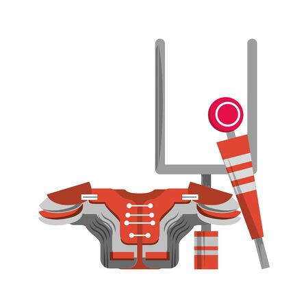 american football sport game goal post with shoulder pad and sideline cartoon vector illustration graphic design