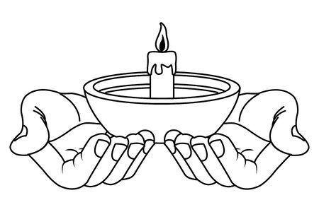 Hand holding candle in bowl cartoon vector illustration graphic design