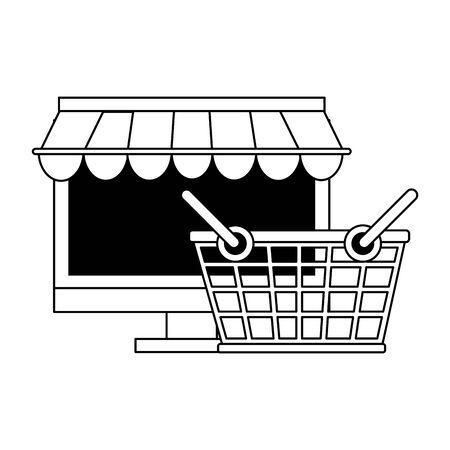 deliverycommerce online sales computer cartoon vector illustration graphic design Illustration