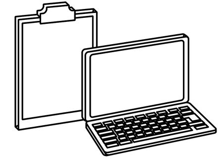 Office elements and business symbols laptop and clipboard ,vector illustration graphic design.
