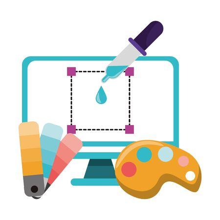 Graphic design digital software tools and symbols for creative process, art and ideas. illustration editable image Archivio Fotografico - 131770151