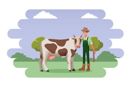 farm, animals and farmer man wearing hat and cow avatar cartoon character over the grass with shruberry, trees and clouds vector illustration graphic design