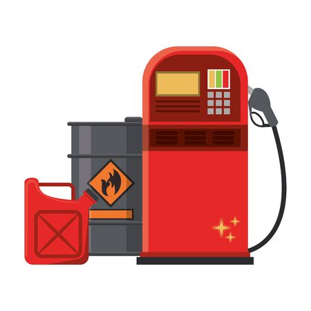 Fuel dispenser and can with oil barrel vector illustration graphic design