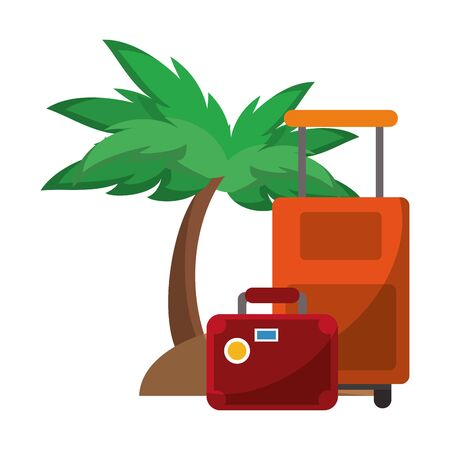 Summer luggage suitcase and palm tree cartoons vector illustration graphic design