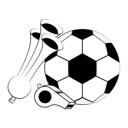Soccer football sport game ball with horns and whistle vector illustration graphic design Иллюстрация