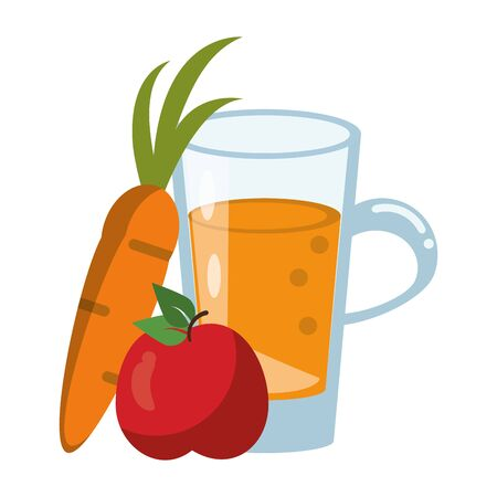 healthy drink juice carrot and apple nature glass cartoon vector illustration graphic design
