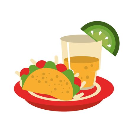 mexico culture and foods cartoons tequila glass and lemon cut on the edge on a plate accompanied by a taco vector illustration graphic design