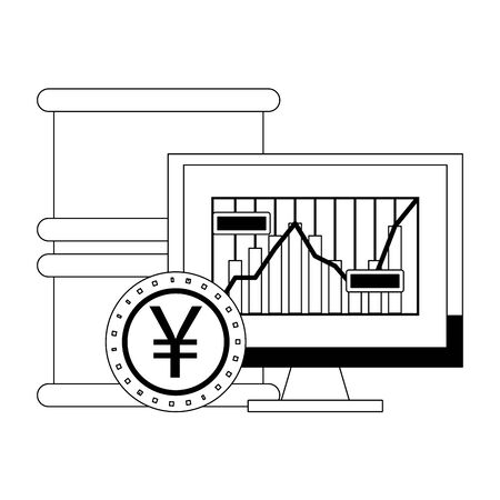 Online stock market investment petroleum barrel with yen coin and pc symbols in black and white vector illustration