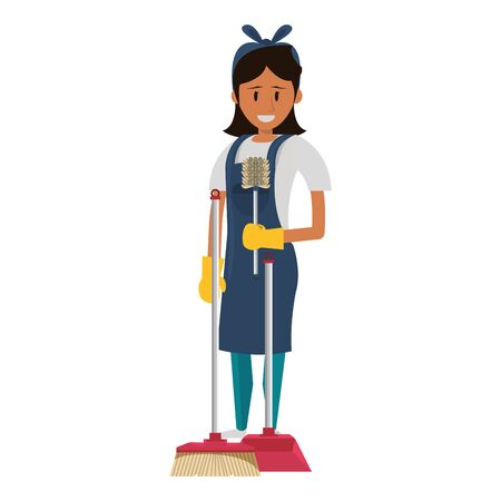 Cleaner woman worker with cleaning products and equipment vector illustration graphic design.