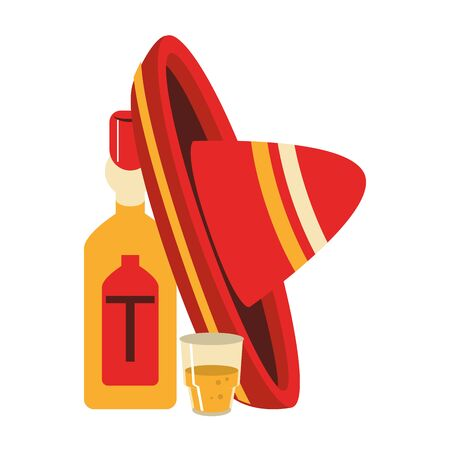 mexico culture and foods cartoons tequila bottle and glass mariachi hat vector illustration graphic design Иллюстрация