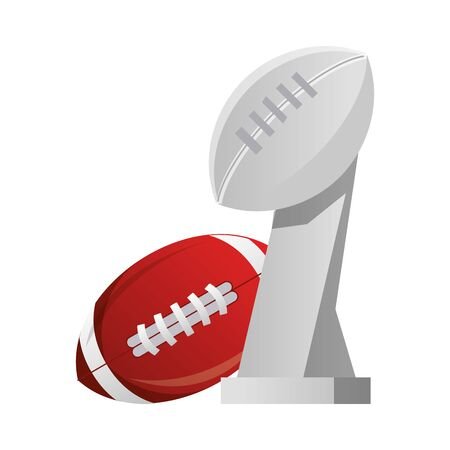 american football sport game champion trophy with ball cartoon vector illustration graphic design Ilustracja