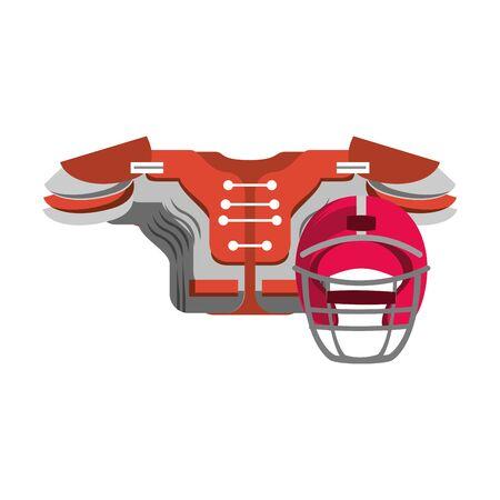 american football sport game helmet with shoulder pad cartoon vector illustration graphic design