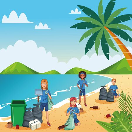 Teenagers with trash can cleaning the beach cartoon scenery vector illustration graphic design Иллюстрация