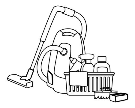 laundry wash and cleaning liquid soap, spray cleaner and cleaning shampoo into a cleanliness basket with a cloth, scrum brush, soap bar and vacuum cleaner icon cartoon in black and white vector illustration graphic design Standard-Bild - 129856194