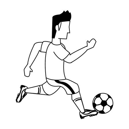 Soccer player kicking ball cartoon isolated vector illustration graphic design Иллюстрация