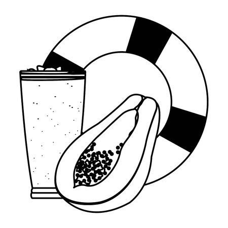 summer beach and vacation with lifebuoy, tropical fruit and smoothie drink icon cartoon in black and white vector illustration graphic design 写真素材 - 129858013