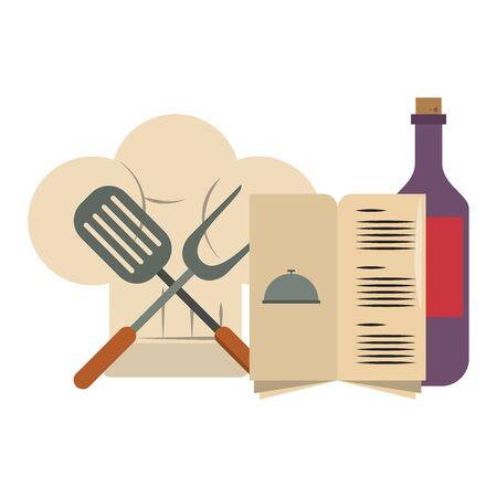restaurant food and cuisine chef hat, menu and crossed kitchen spatula and big fork icon cartoons vector illustration graphic design Ilustração