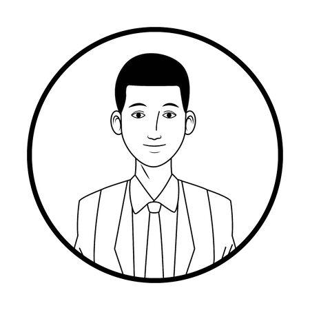 Homme d'affaires afro-américain portant costume avatar personnage de dessin animé photo de profil portrait icône ronde noir et blanc illustration vectorielle conception graphique