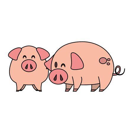 cute animals pigs farm mammal pet cartoon vector illustration graphic design  イラスト・ベクター素材