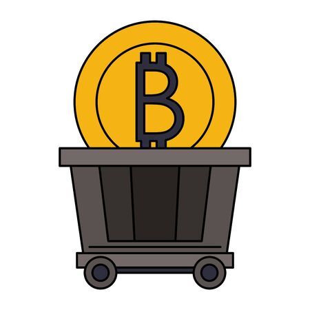 Bitcoin cryptocurrency coin in train carrier symbol vector illustration graphic design
