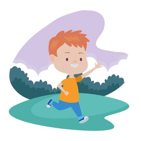 Cute boy children running, smiling and having fun cartoon at nature outdoors ,vector illustration graphic design. Иллюстрация