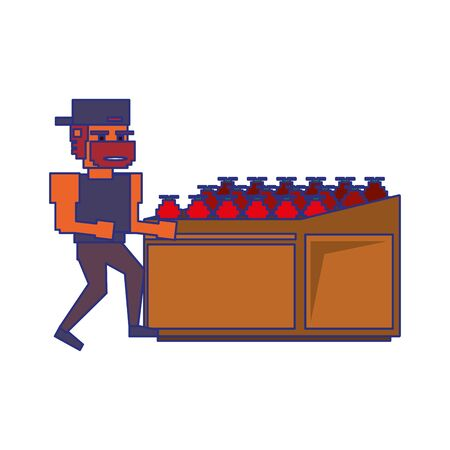 Retro videogame pixelated gangster and fruits in stand cartoons isolated vector illustration graphic design 向量圖像