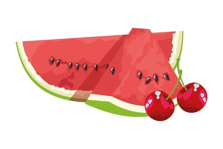 Tropical delicious fruit with cherries and watermelon icon cartoon vector illustration graphic design Standard-Bild - 129858299