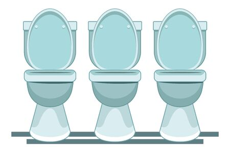 three toilet sanitary icon cartoon vector illustration graphic design