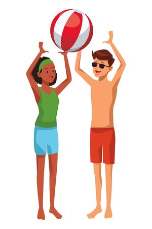 Friends enjoying summer playing with beach ball isolated vector illustration graphic design
