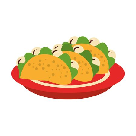 mexico culture and foods cartoons plate with tacos vector illustration graphic design Иллюстрация