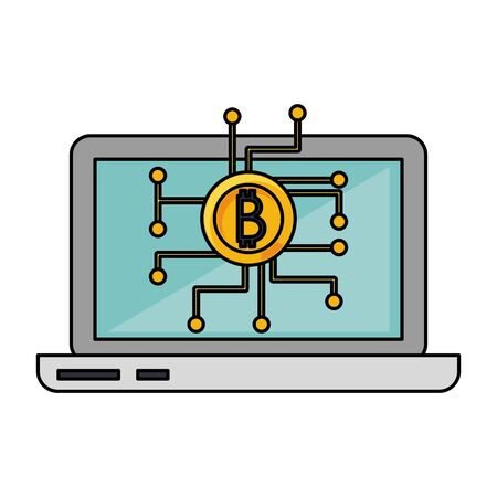 Bitcoin cryptocurrency symbol laptop screen vector illustration graphic design