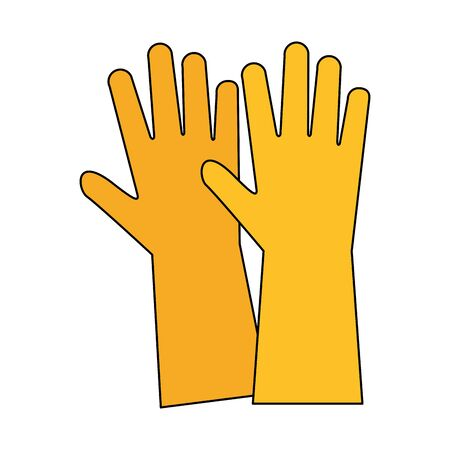 Cleaning gloves equipment isolated symbol vector illustration graphic design.
