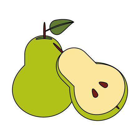 Pear half cut fresh fruit healthy food cartoon isolated vector illustration graphic design Standard-Bild - 129858354