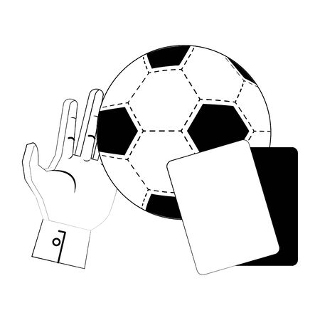 Soccer football sport game referee card and ball with goalkeeper glove vector illustration graphic design