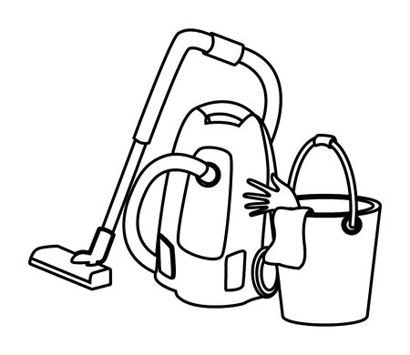 cleaning and hygiene equipment vacuum cleaner and cleaning bucket with gloves and cloth icon cartoon in black and white vector illustration graphic design Ilustrace