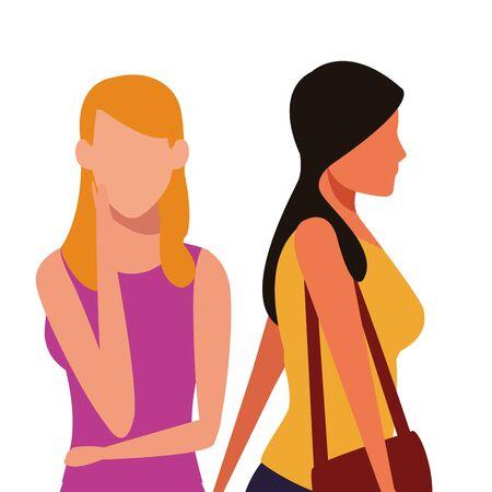 casual people women upper body cartoon vector illustration graphic design